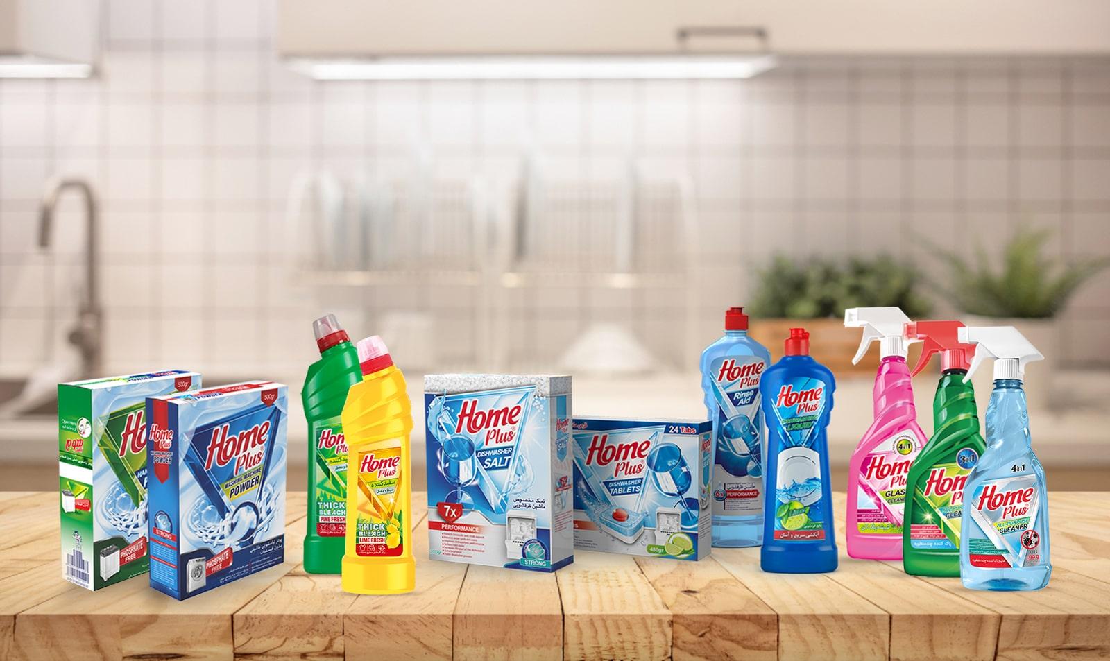هوم پلاس – تولیدکننده انواع شوینده مثل مایع ظرفشویی، چندمنظوره، پودر لباسشویی و ...